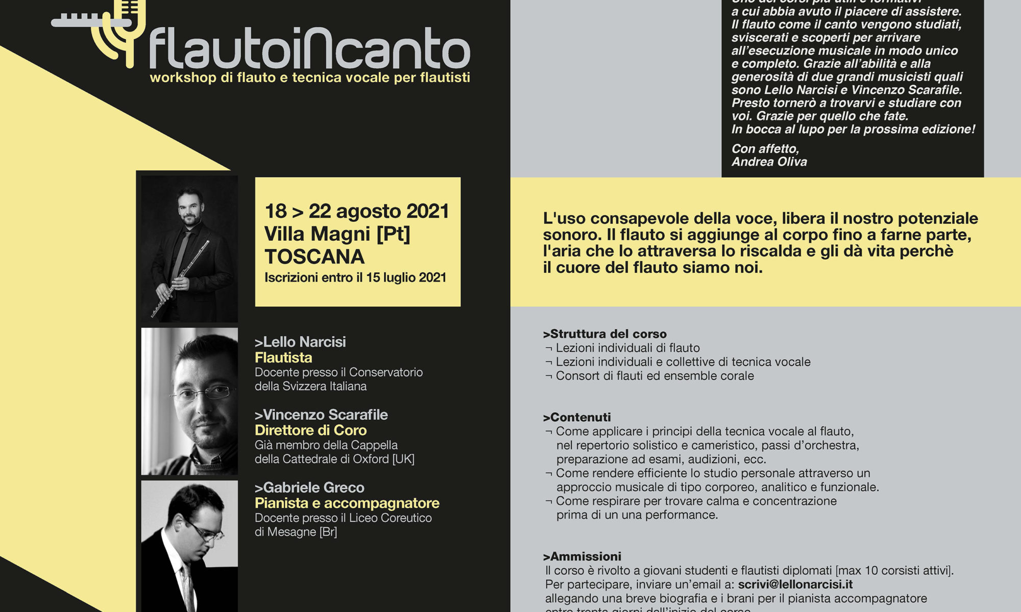 FLAUTO IN CANTO 2021